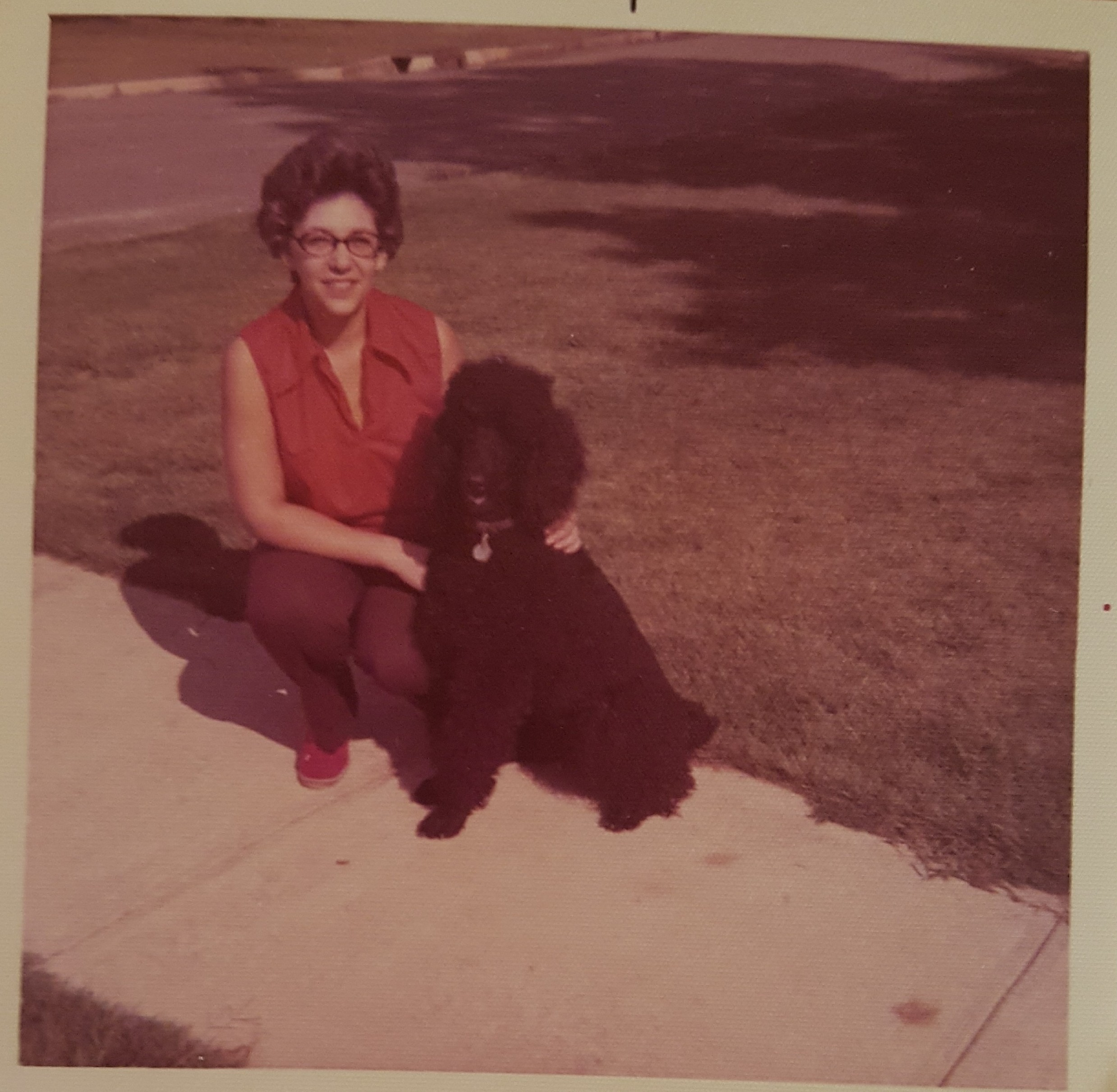 Mom and Bonnie our first standard poodle. 1972